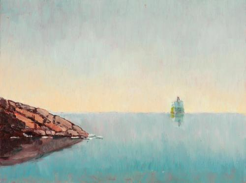 Rocks and Ship 2010, oil on linen, 23 x 31 cm (Private Collection)