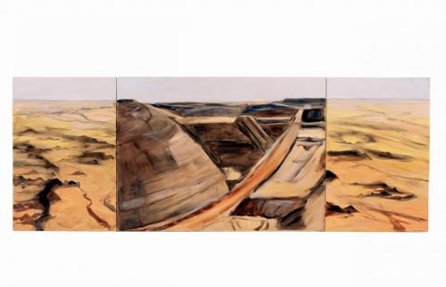 Telfer Triptych, 2005, oil on canvas, 76 x 202 cm. (Private Collection)