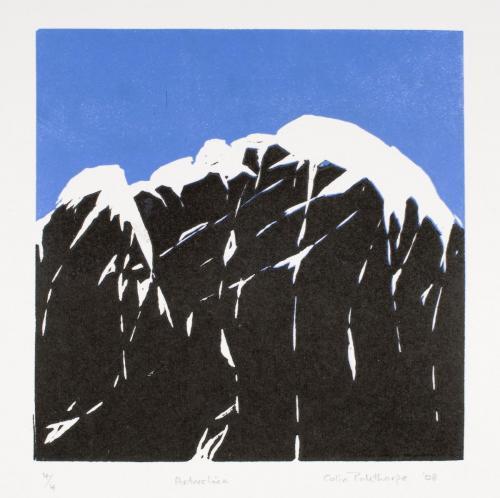 """Antarctica"" 2008, linocut print, 15 x 15 cm."