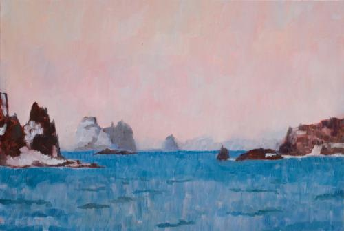 """""""Approaching Aitcho Island"""" 2008, oil on canvas, 51 x 76 cm. (Private Collection)"""