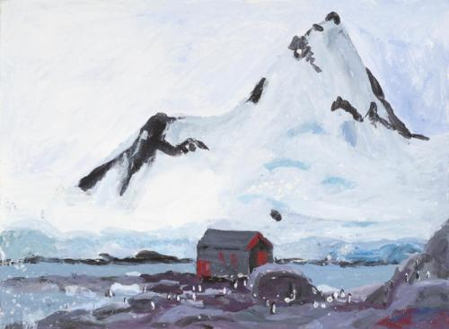 """""""At Port Lockroy"""" 2008, acrylic on paper, 24 x 24 cm. [Private Collection]"""