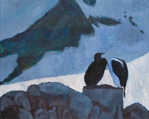 """Blue Eyed Shags Joegla Point"" 2008, oil on linen, 61 x 77 cm."