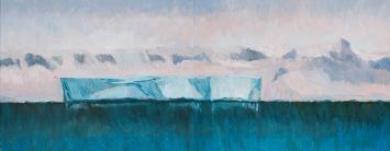 """Deception Island Iceberg Diptych"" 2008, oil on linen, 61 x 154 cm."
