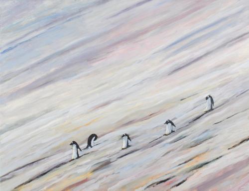 """Gentoo Penguins"" 2008, oil on linen, 76 x 102 cm."