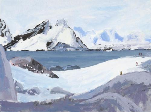 """On Petermann Island"" 2008, acrylic on board, 18 x 24 cm."