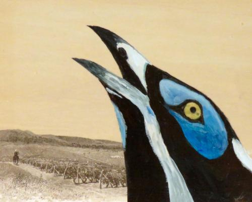 Blue-faced Honeyeater 2016 acrylic and collage on wood panel 20 x 25 cm