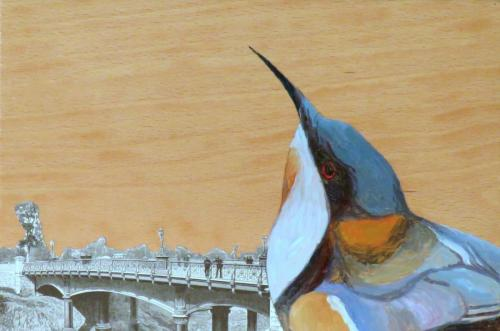 Eastern Spinebill 2016 acrylic and collage on wood panel 20 x 30 cm (Private Collection)