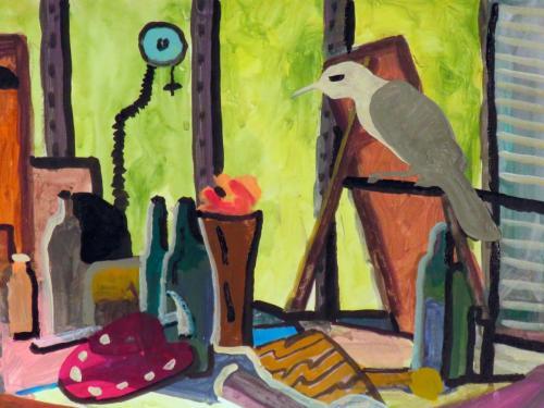 Studio with Bowerbird 2016 acrylic on paper on wood panel 31 x 41 cm