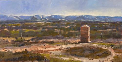 """""""Hawker Monument"""" 2007, oil on canvas, 33 x 66 cm."""