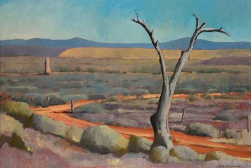 """""""Tree and monument"""" 2007, oil on canvas, 61 x 92 cm."""