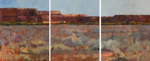 Iron Knob 2007 oil on canvas 76 x 183 cm 3 panels