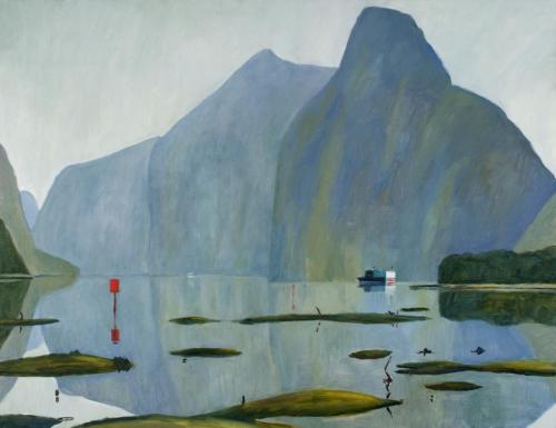 """""""Milford Sound"""" 2009, oil on linen, 107 x 137 cm. [Private Collection]"""