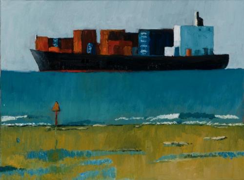 Container Ship Point Lonsdale 2009 Oil on linen 39 x 51 cm (Private Collection)