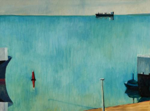 Lyttleton Wharf 2009 Oil on linen 77 x 102 cm