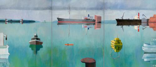 Port of Portland 2009 oil on linen, triptych, 137 x 321 cm