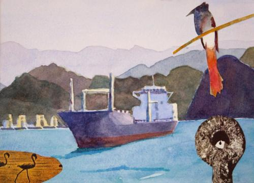 SV11 (Muscat) 2014 collage and watercolour on board 17 x 23.5 cm (Private Collection)