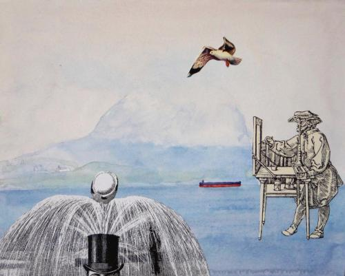 SV12 (Gibraltar) 2014 collage and watercolour on board 20 x 25 cm (Private Collection)