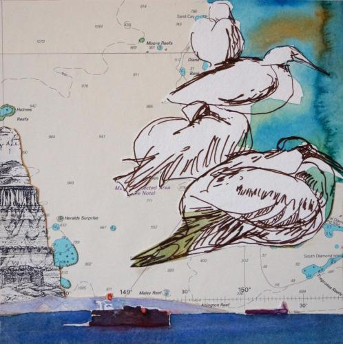 SV16 (Displaced Pelicans) 2014 collage and watercolour on board 20 x 20 cm (Private Collection)