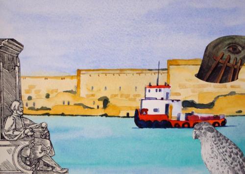 SV17 (Malta) 2014 collage and watercolour on board 17 x 23.5 cm