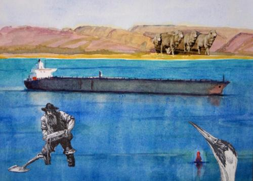 SV19 ( Suez 4) 2014 collage and watercolour on board 17 x 23.5 cm