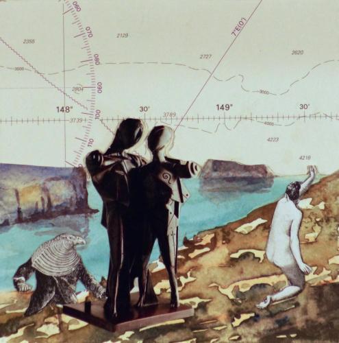 SV28 ( Malta2) 2014 collage and watercolour on board 15 x 15 cm (Private Collection)