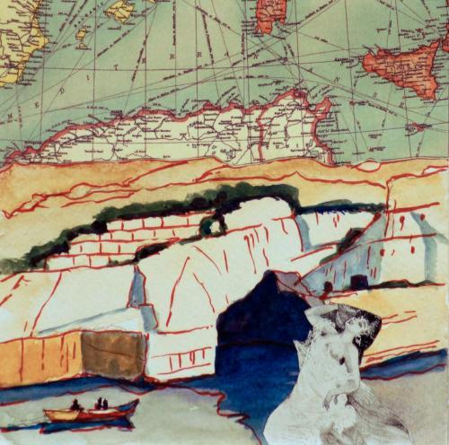 SV29 (Malta3) 2014 collage and watercolour on board 15 x 15 cm (Private Collection)