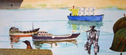 SV9 (Oman) 2014 collage and watercolour on board 13 x 30 cm (Private Collection)
