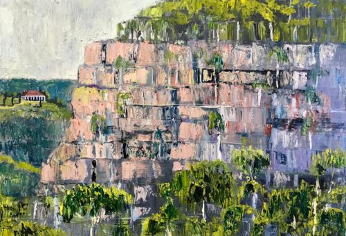 Blue Mountains Facade 2018 oil on linen 86 x60 cm